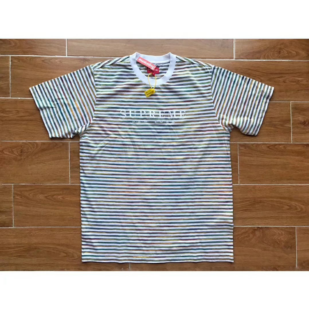 19faf8fe5 Supreme Static Striped Tee, Men's Fashion, Clothes, Tops on Carousell