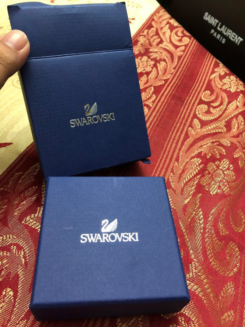 587ca79cd Swarovski Angelic Square Pierced Earrings, Luxury, Accessories, Others on  Carousell