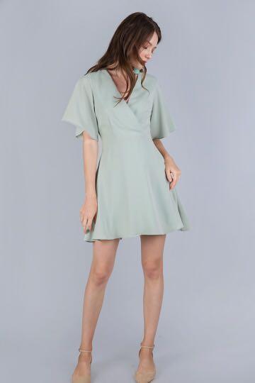 TTR Izabela Flare Dress in Sage Green (XS)