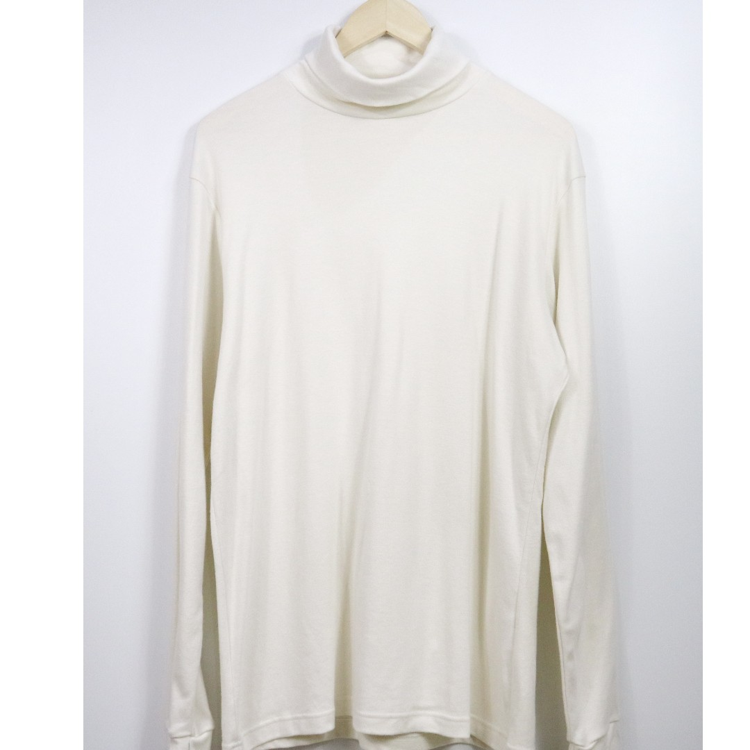 bff4262be UQLO Tshirt Men Soft Touch Turtle Neck Long Sleeve White