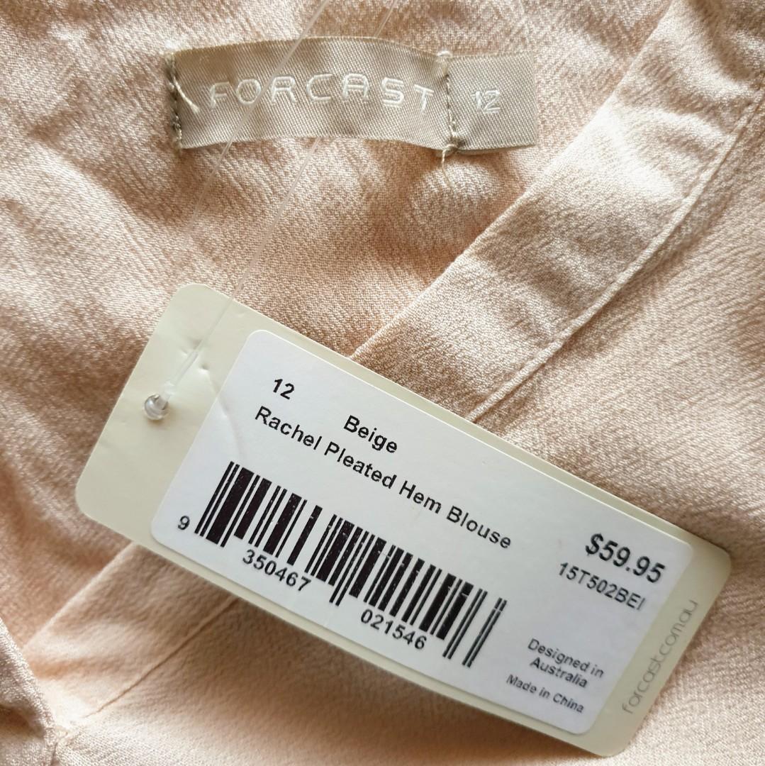 Women's size 12 'FORCAST' Stunning beige pleated hem blouse - BNWT RRP$59