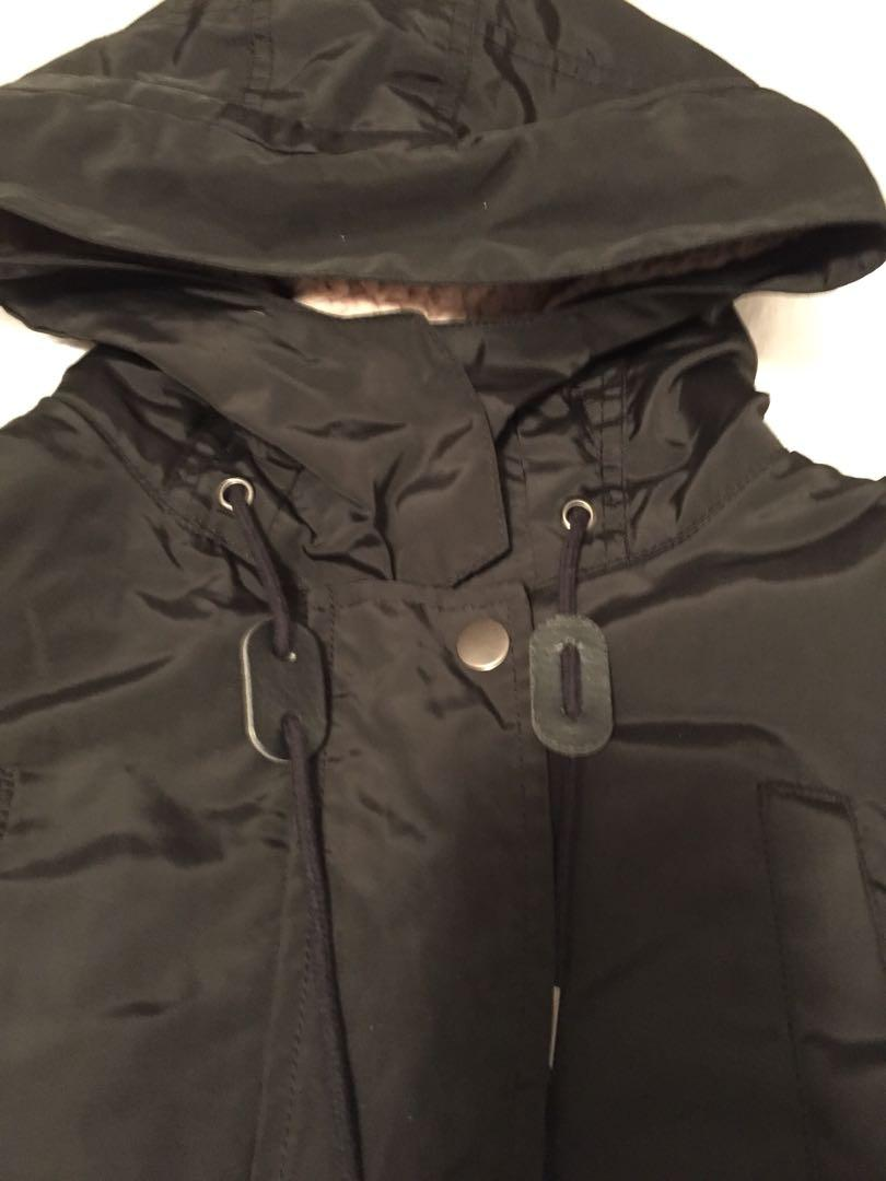 Zara Sherpa Lined Rain Coat Jacket Removable Lining