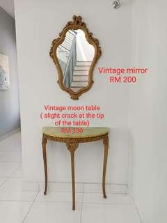 Vintage mirror and table