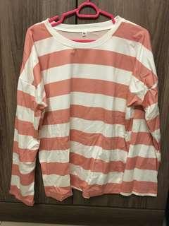 🚚 pink striped pullover