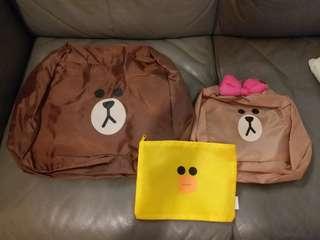 LINE FRIENDS旅行袋(1套3件)