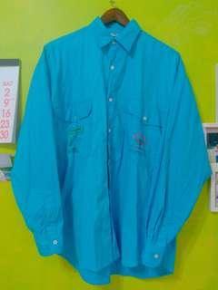 🚚 古著 美式螢光藍棉麻襯衫