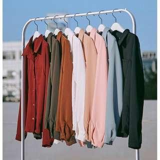 🚚 藕粉色全新超美雪紡長袖氣質顯瘦上衣
