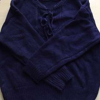 Navy Lace Up Sweater