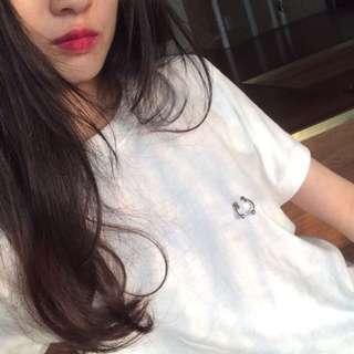 Hoop ring T-shirt Top t shirt round neck short sleeve - white