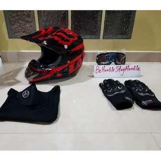 Glossy Fox Design Off Road Full Face Helmet Size L & XL