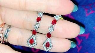 【輕珠寶】紅寶石 耳針式耳環