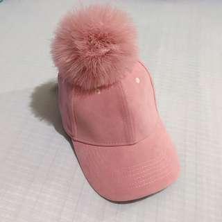 全新粉色麂皮球球帽