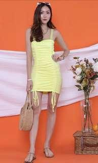 🚚 The juice market lesly ruching neon yellow dress (new stock)