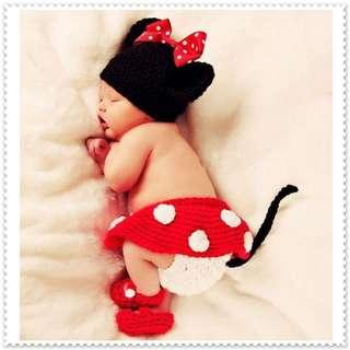 🚚 Baby Minnie Mouse Crochet Photo Props / Handmade Minnie Mouse Full Month Set