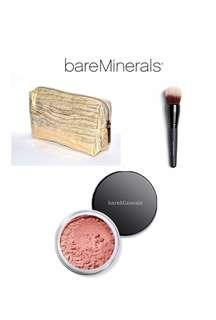 🚚 BNIP Brand New bareMinerals Golden Gate Blush and Bronzer with Smoothing Face Brush in a Pouch Set (BareMinerals Bare Minerals Mineral Loose Powder Tinted Finisher Contour Contouring Face Highlighter Bag Case)