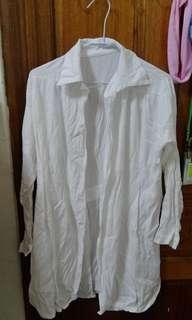 🚚 M~L可穿🌱白色棉麻長袖外搭上衣#半價衣服市集