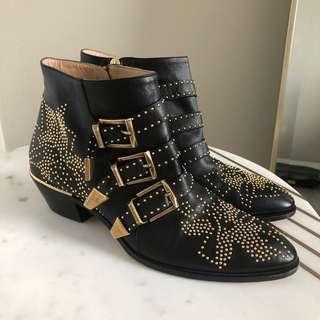 Chloé Susanna Leather Ankle Boots Size 40