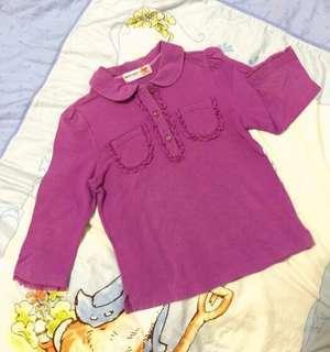 🚚 Why and 1/2 女童紫色彈性棉質花邊7分袖polo衫11號135cm