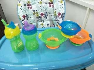 Baby drinking and snack bowls