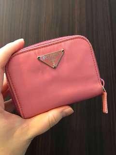 🚚 PRADA 卡片零錢包 零錢夾 卡夾 粉色 八成五新 正品