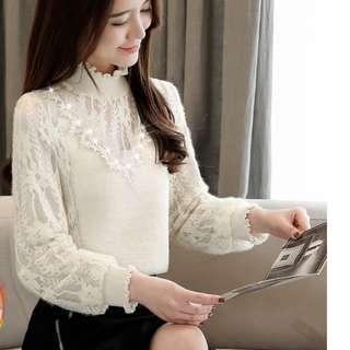 【全新轉賣】女裝XL秋冬季加絨高領蕾絲打底衫長袖上衣服