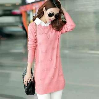 🚚 【全新轉賣】女裝XL襯衣領中長款打底針織衫純色假兩件修身毛衣