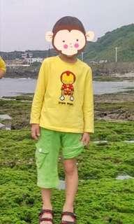 🚚 Why and 1/2 男童黃色鋼鐵人長袖上衣棉質T恤7號115cm