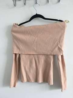 Bundle deal: 1 Aritzia ribbed blush pink off shoulder sweater + 1 M boutique off shoulder sweater
