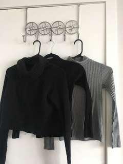 Bundle deal: 2x topshop mock neck ribbed tops. One M boutique cropped black mock neck sweater.