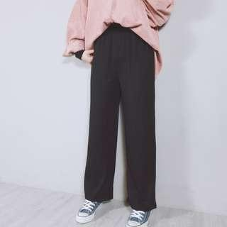 🚚 🐱Fussy Cat🐱韓系百搭坑條鬆緊直筒褲  B191621