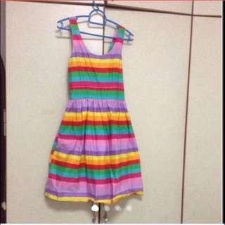 $69 Pretty Rainbow Flare Dress With Elastic Waistband From Korea ( Brand New )