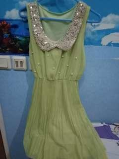 Chiffon green dress s-m