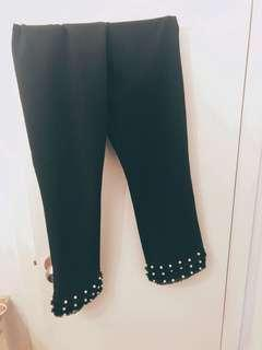 Black Zara Dress Pants with Pearls