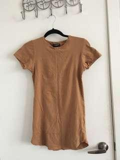 Nude T-shirt bodycon dress size S