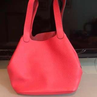 Calf leather pink basket bag