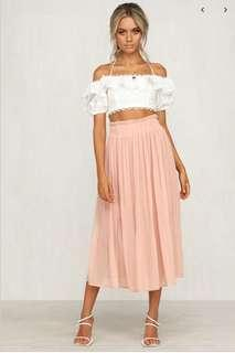 Peach Pleated midi skirt