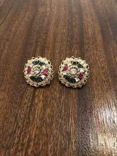 FREE SHIPPING Gold round earrings