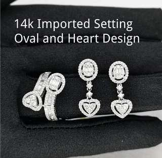 14k oval & heart design