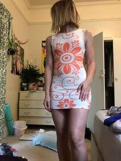 Orange bodycon floral cute dress size 6