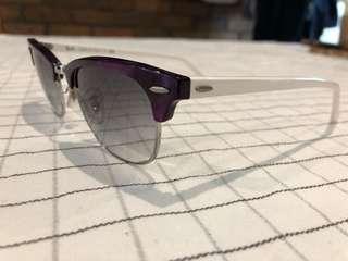 Purple and white Rayban sunglasses