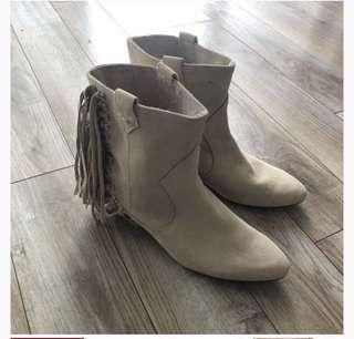 Suede fringe cream ankle boots