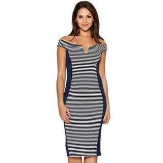Blue Navy & White Bardot Panel Dress