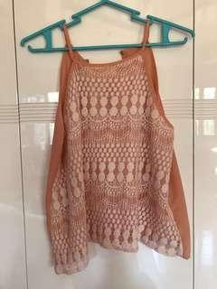 Peach Halter Boho Top
