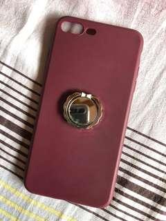 iPhone 7/8 Plus Wine Color Silicone Case w/ Holder (Bundle)
