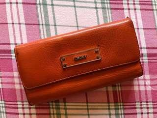Authentic DKNY Orange Leather Wallet