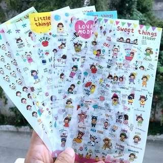 韓國 卡通貼紙6張 故事記事簿貼紙 透明PV手帳貼 手機電話裝飾貼
