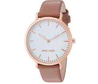 Bnew Authentic NINE WEST Women's NW/2110WTRG Rose Gold-Tone and Dusty Rose Strap Watch