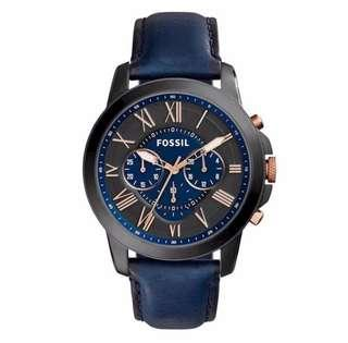 🚚 Fossil Men's Grant Chronograph navy leather Watch