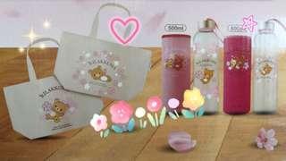 ++代購++午後紅茶×櫻花鬆弛熊手提袋。玻璃水壺