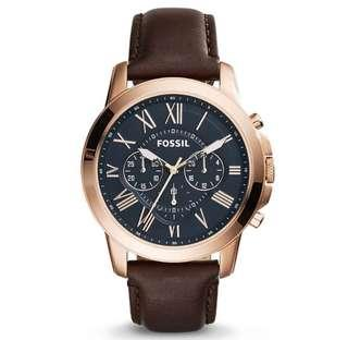 🚚 Fossil Men brown Leather Grant Chronograph  Watch